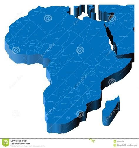 africa map 3d 3d map of africa stock image image 13462501