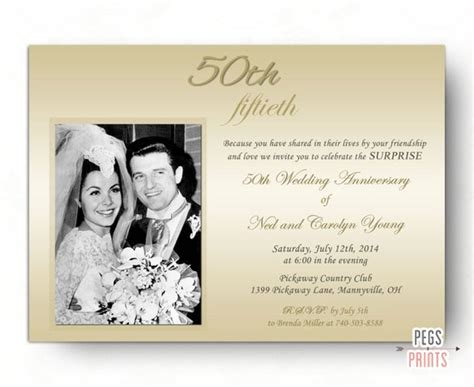 invitation of wedding anniversary wedding anniversary invitation 50th
