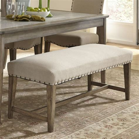 Upholstered Bench Chair Rustic Casual Upholstered Bench With Nail Trim