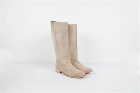 vintage beige suede boots white leather boots high
