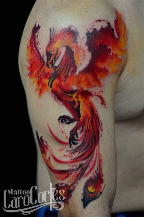 watercolor tattoo phoenix az watercolor phoenix fenix acuarelado caro cortes