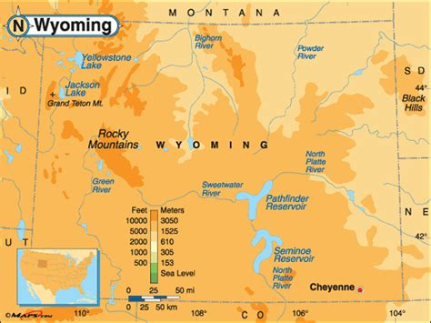 physical map of wyoming printable map of wyoming free printable maps