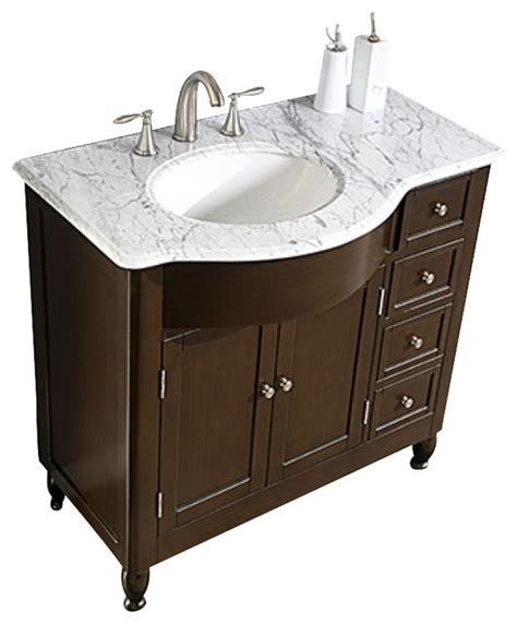 38 Inch Bathroom Vanity 38 Inch Modern Single Sink Bathroom Vanity With White Marble Traditional Bathroom Vanities