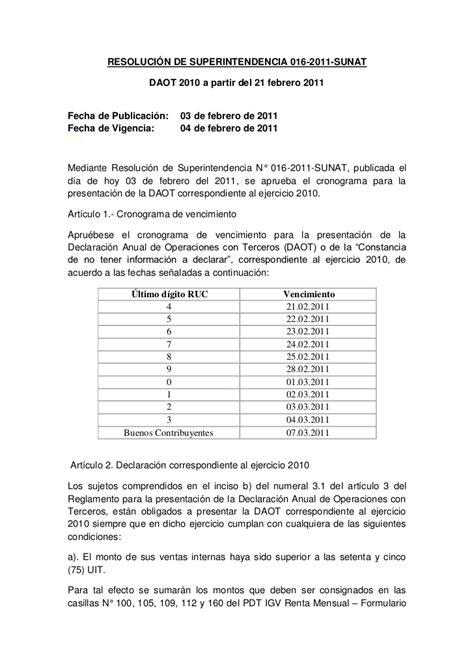 sunat vencimiento del daot 2015 daot sunat macro para calcular y generar reportes para