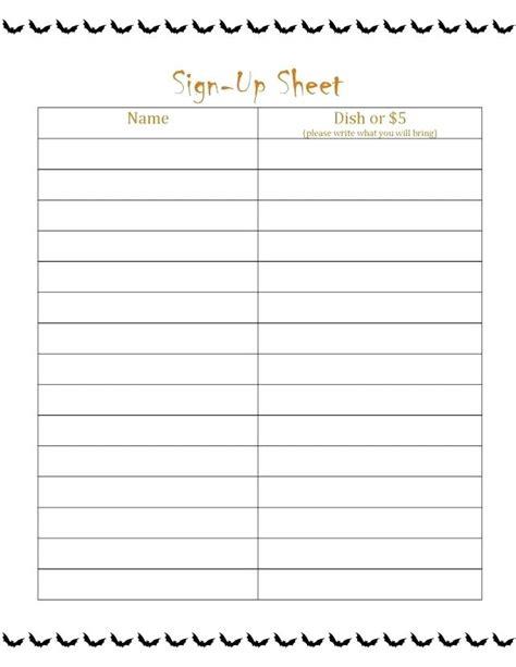 printable christmas party sign up sheet 15 sign up sheets sle paystub