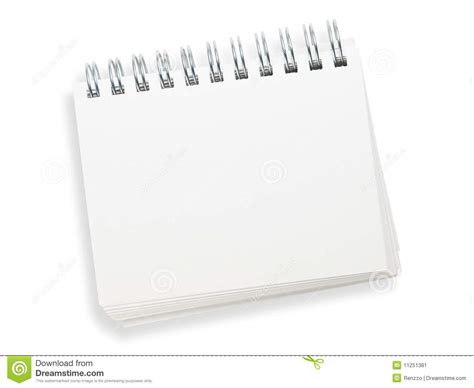 blank spiral memo pad isolated on white stock image