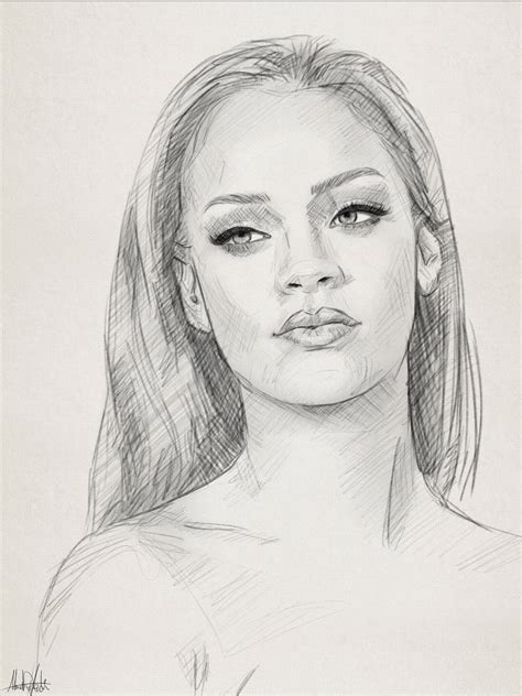 pencil sketch drawing images portrait pencil sketch drawing portrait of rihanna by