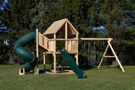 wooden swing set with slide cedar swing sets the bailey deluxe play set