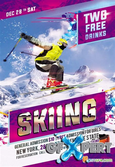 free flyer psd template skiing download