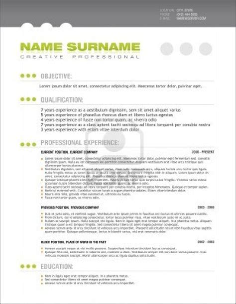 resume layout template best photos of professional cv template free