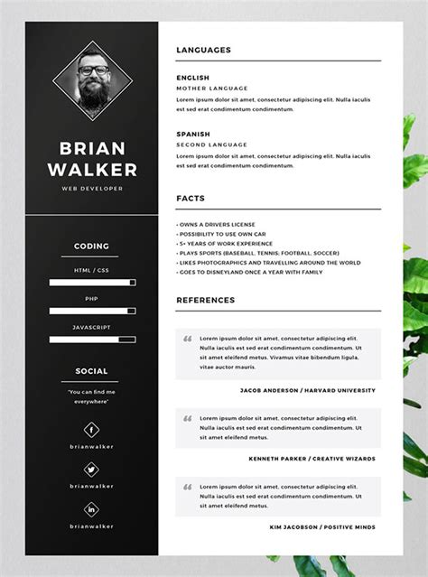 free resume with photo template 10 best free resume cv templates in ai indesign word