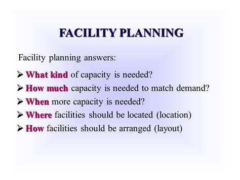 facility layout questions and answers capacity planning for products and services ppt video