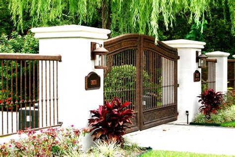 cool wrought iron fence and gate design idea in brown