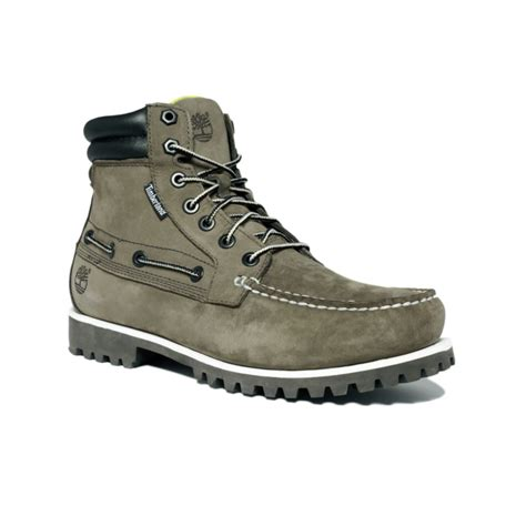 timberland oakwell 7 eye moc toe boots in khaki for