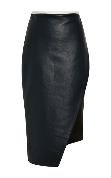 jonathan simkhai asymmetrical leather pencil skirt in blue