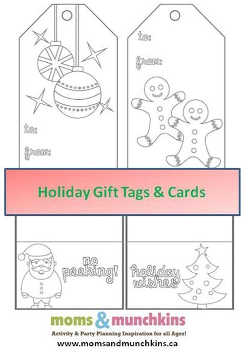 printable holiday gift tags to color printable christmas cards to color moms munchkins