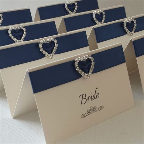 ivory navy personalised heart diamante wedding reception