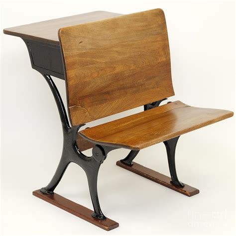 antique school desk chair combination photograph by