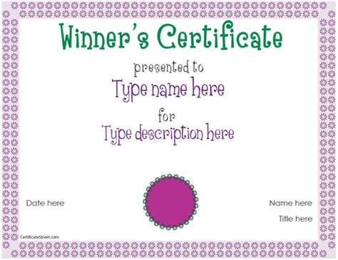 winner certificate template education certificates winner certificate