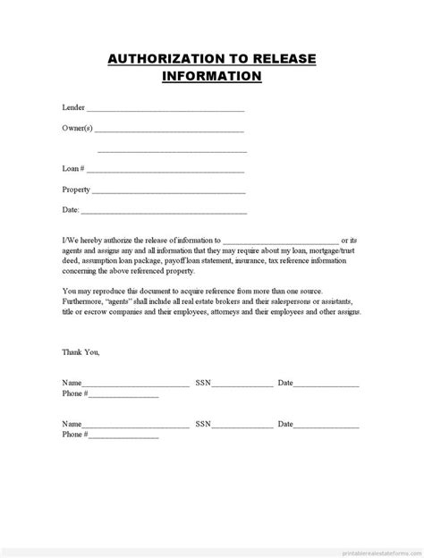 printable authorization  release information template  sample forms  pinterest