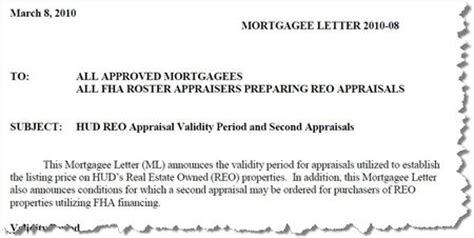 Mortgagee Letter Appraisal Validity Appraisal Scoop Hud Mortgage Letter 2010 08 Reo Appraisal Validity Period And Second Appraisals
