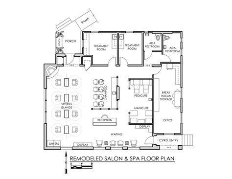 floor plan salon freddie b salon spa stand alone tenant improvement mcgarry archinect