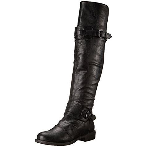 ankle high motorcycle boots diba 7655 womens curl up faux leather knee high
