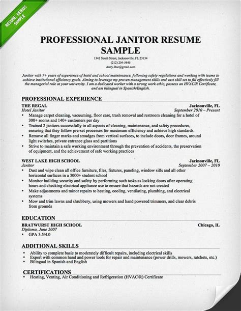Janitor Resume Sle Free Janitor Resume Sle This Resume Sle To Use As A Template For Writing Your Own