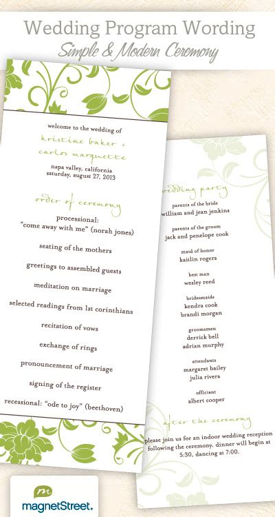 Wedding Program Wording Templateswedding Program Wording Templates Modern Wedding Program Templates