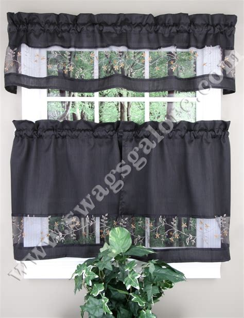 Black Kitchen Curtains And Valances Fairfield Kitchen Curtains Valance Tier Pairs Black By Achim Sheer Kitchen Curtains