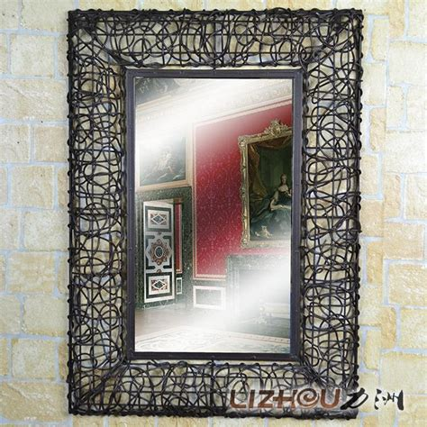 wrought iron bathroom mirror wrought iron carved yiyuan rattan frame mirror decorative