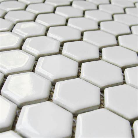 1 Hexagon Ceramic Floor Tile - hexagon porcelain floor tiles white shiny mosaic glazed