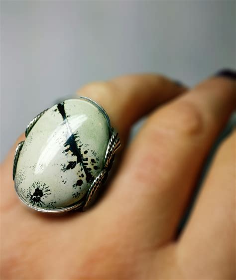 Sterling Silver Handmade Jewelry - rustic bold ring artistic jasper statement