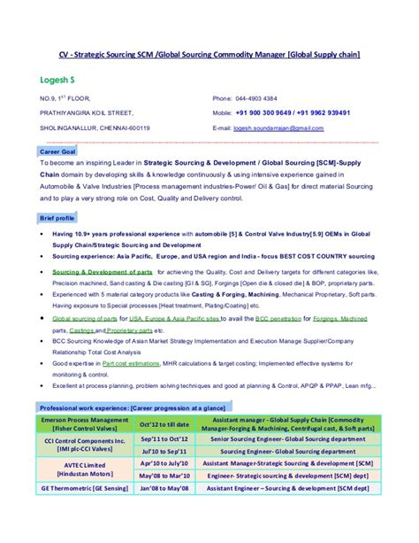 vendor management resume sle global procurement executive resume 28 images