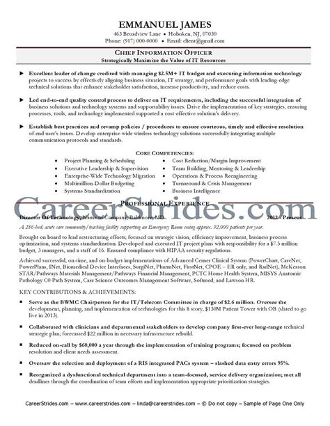 cover letter for cio position cio resume exle chief information officer resume