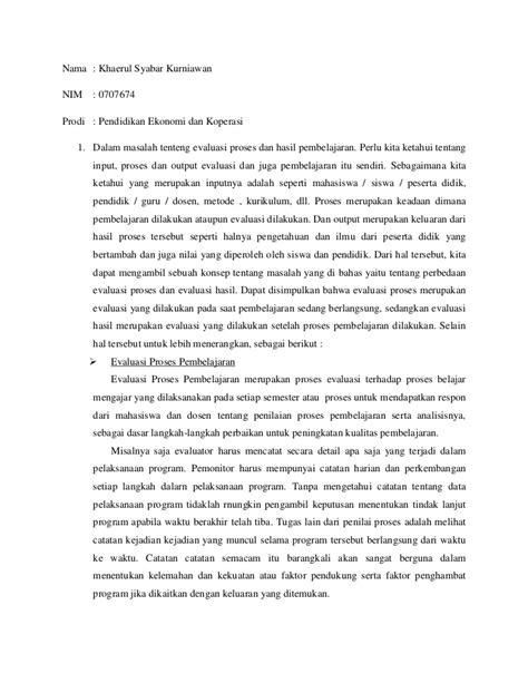 Evaluasi Pembelajaran Ekonomi evaluasi pembelajaran khaerul syabar 0707674