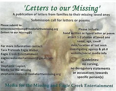 up letter to a loved one letters to our missing families who a
