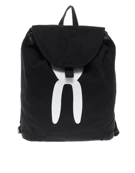 Rabbit Backpack In Visetos Black lyst rabbit ear backpack in black