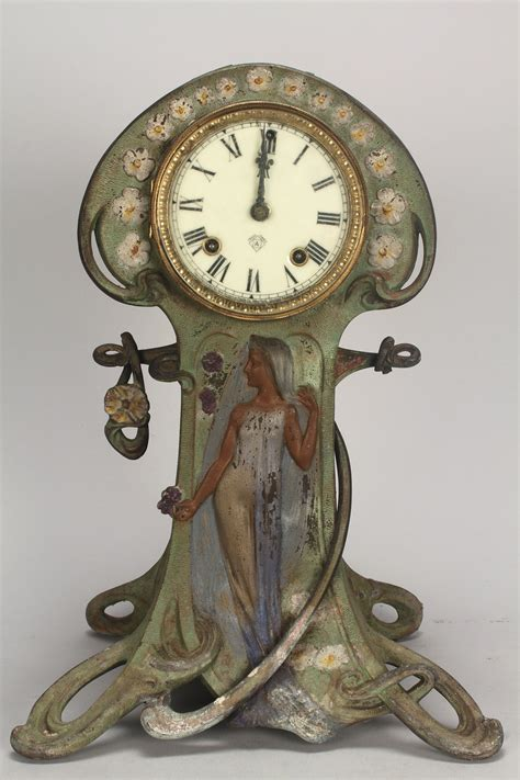 jugendstil standuhr lot 718 2 ansonia clocks nouveau mantle w brass