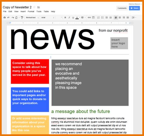 Google Doc Template Newsletter Calendar Doc Newsletter Templates For Drive