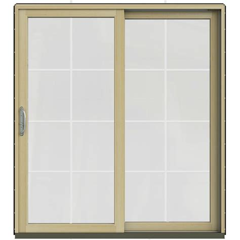 Wood Sliding Patio Door Jeld Wen 71 25 In X 79 5 In W 2500 Black Prehung Right Clad Wood Sliding Patio Door With