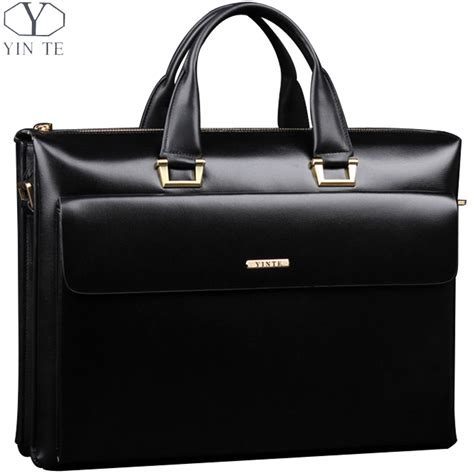 mens leather business bags aliexpress buy yinte leather s briefcase business black handbag high quality