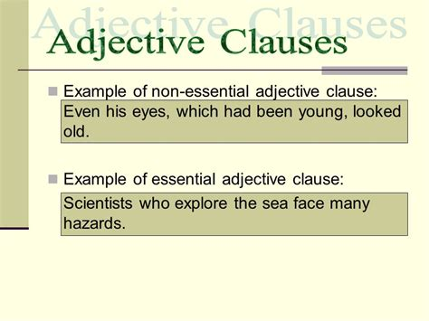 adverb clauses adjective clauses noun clauses ppt video