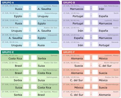 copa mundial 2018 horarios calendario de los partidos mundial rusia 2018 metro