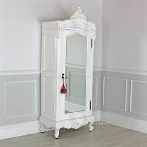 Small Mirrored Wardrobe Chateau White Painted Small 1 Door Mirrored Armoire