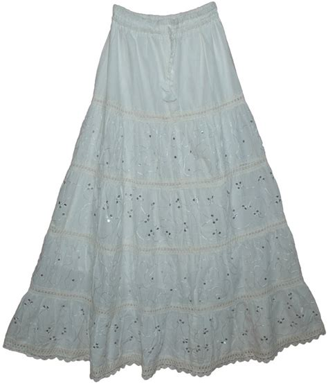 sale 11 99 white summer cotton laced sequins maxi skirt