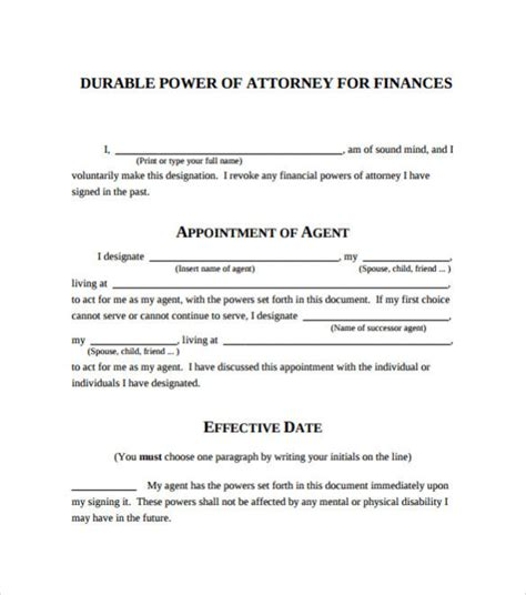 free printable durable power of attorney template power of attorney form sle template calendar