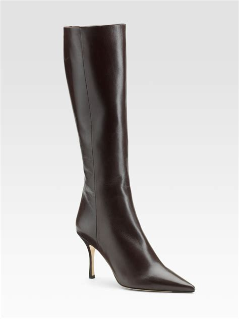jimmy choo iron kid leather kneehigh boots in brown lyst
