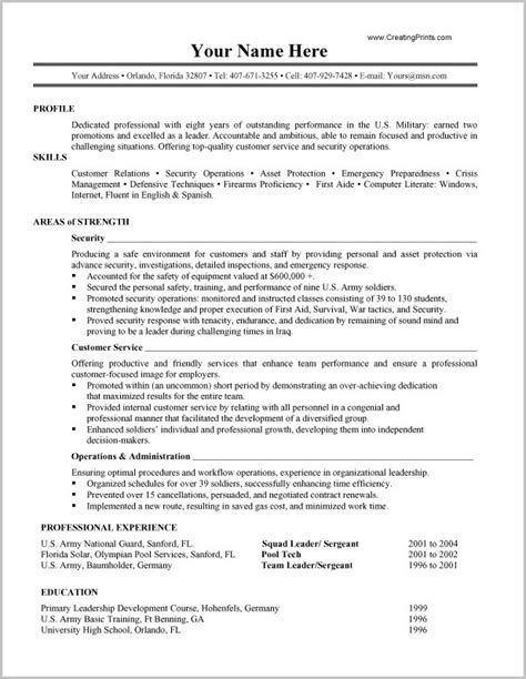 Civilian To Resume by Convert To Civilian Resume Resume Resume