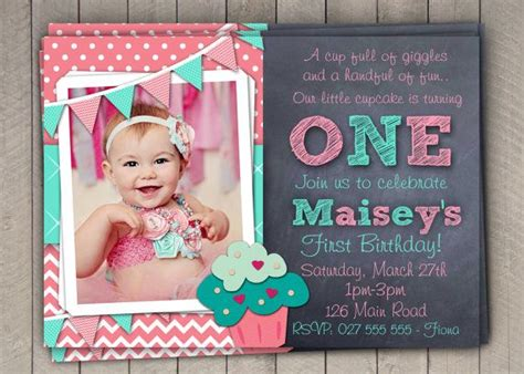 Girls 1st Birthday Invitation First Birthday Cupcake Invitation Printable Download Pink 1st Birthday Invitation Templates
